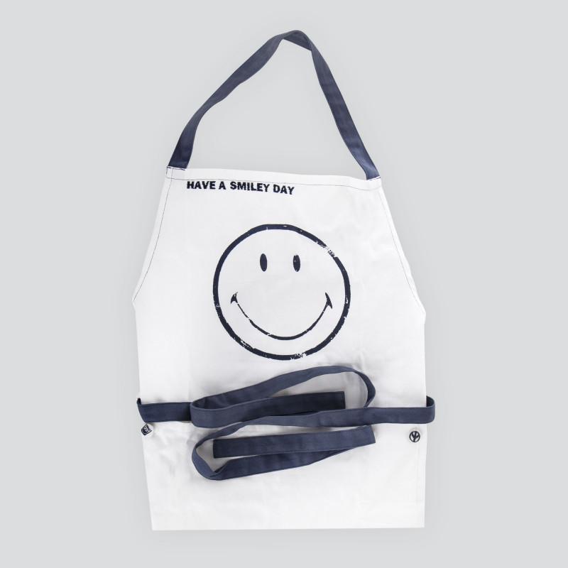 Tablier de cuisine smiley blanc et bleu SERAX marque pas cher prix dégriffés destockage