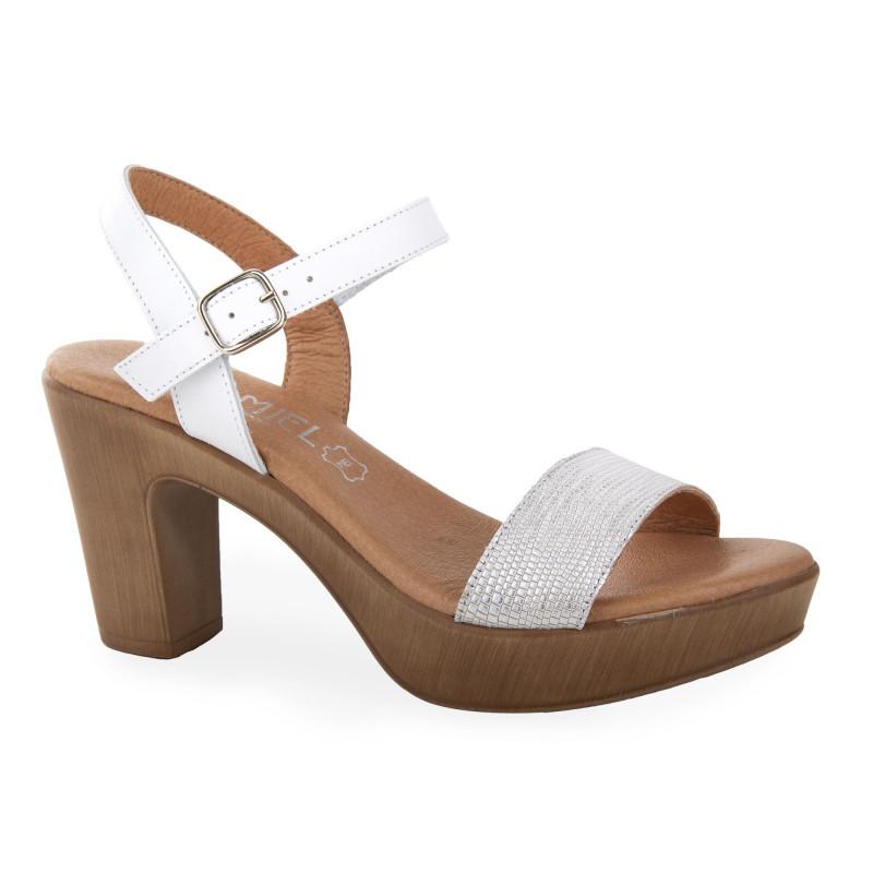 Sandales à talons blanc irisé femme ISSA MIEL marque pas cher prix dégriffés destockage