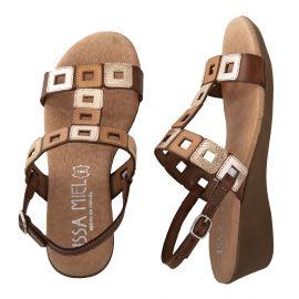 Sandales compensées camel femme ISSA MIEL marque pas cher prix dégriffés destockage