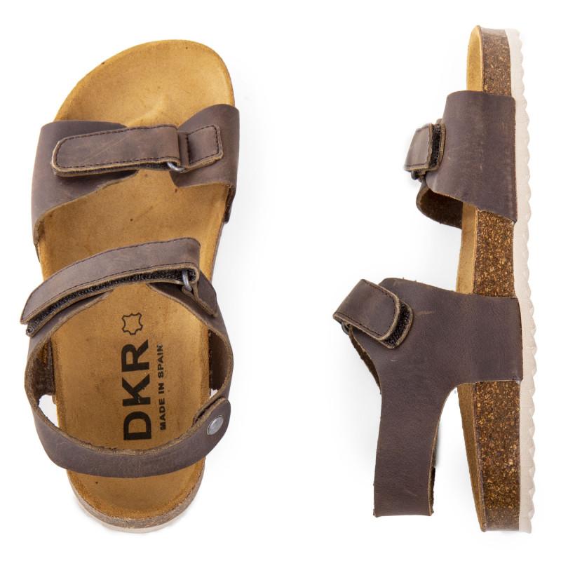 Sandales marrons en cuir à scratchs enfants DKR marque pas cher prix dégriffés destockage