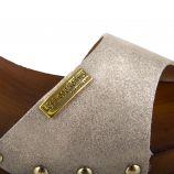 Sandales en cuir doré à petit talon VIENNA femme LES TROPEZIENNES marque pas cher prix dégriffés destockage