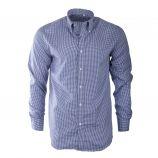 Chemise à carreaux blancs et bleus homme MANOUKIAN marque pas cher prix dégriffés destockage