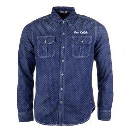 Chemise en jean foncé détails texture homme VON DUTCH marque pas cher prix dégriffés destockage