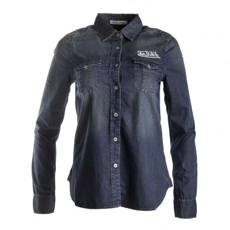 Chemise en jean foncée femme VON DUTCH marque pas cher prix dégriffés destockage