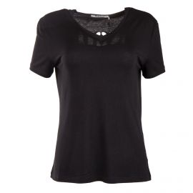 Tee shirt noir col V détails troué dans le dos femme RED SOUL marque pas cher prix dégriffés destockage
