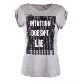 Tee shirt à manches courtes gris détail dentelle femme RED SOUL marque pas cher prix dégriffés destockage