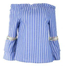 Haut col bardot rayé bleu et blanc détails perles femme RED SOUL marque pas cher prix dégriffés destockage