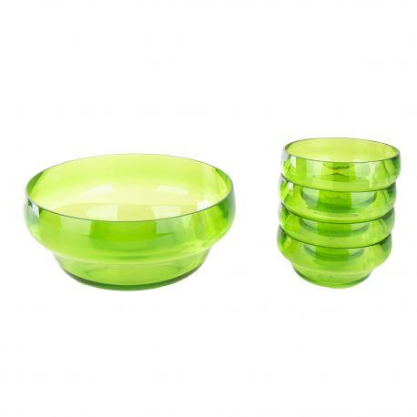 Saladier et 4 petites coupelles en plexiglas vert GUZZINI marque pas cher prix dégriffés destockage