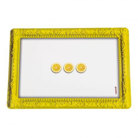 Set de table jaune et blanc citron GUZZINI marque pas cher prix dégriffés destockage