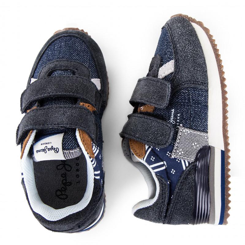 Baskets bleu jean à scratchs bébés PEPE JEANS marque pas cher prix dégriffés destockage