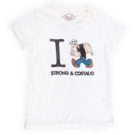 Tee shirt à manches courtes blanc popeye enfant FABULOUS ISLAND marque pas cher prix dégriffés destockage