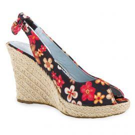 Sandales compensées espadrilles à fleurs femme ANNALISA marque pas cher prix dégriffés destockage