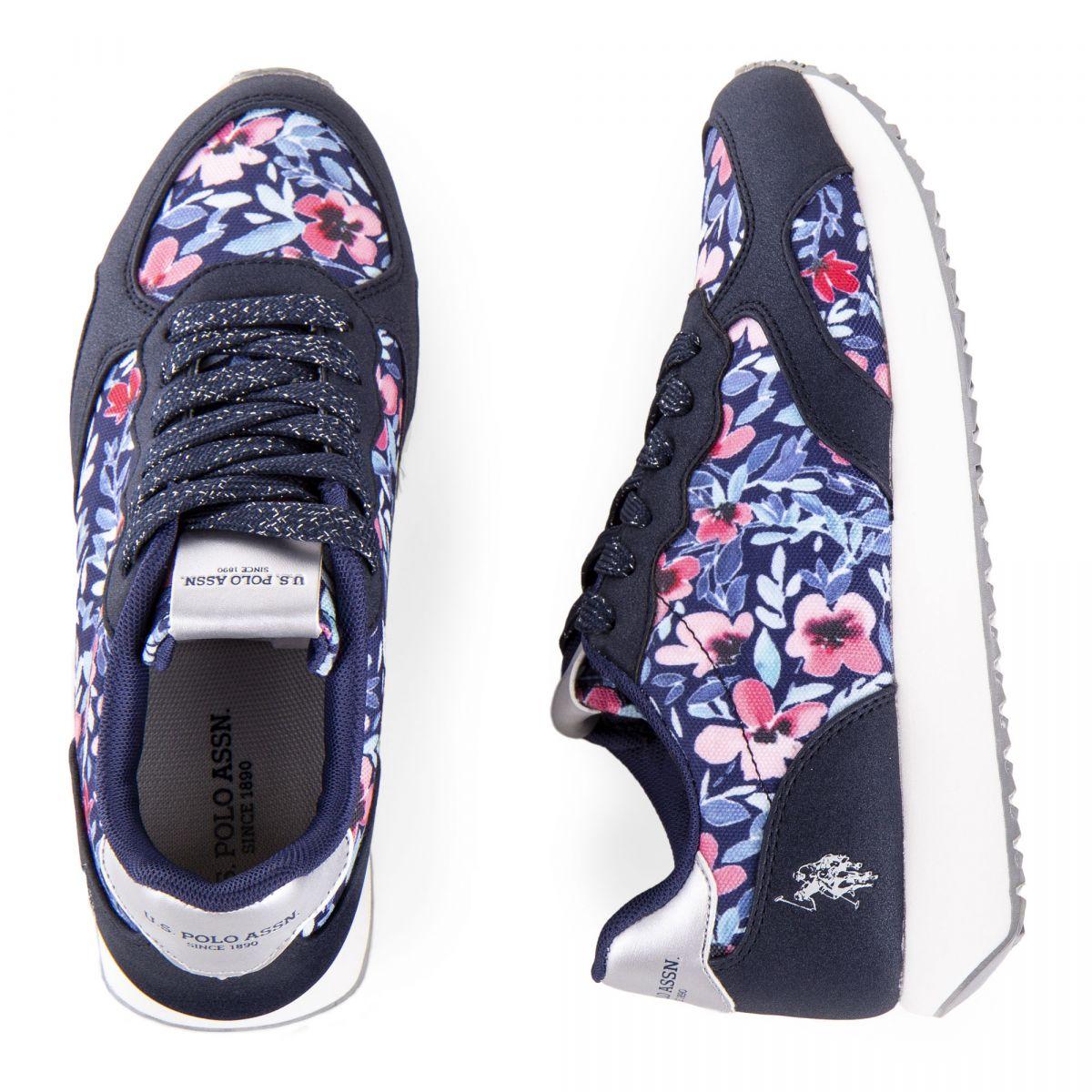 Baskets sneakers à fleurs femme US POLO marque pas cher prix dégriffés  destockage ... 5eb541f45bb7