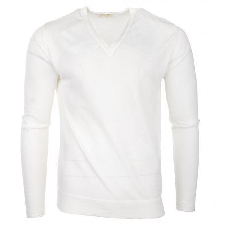 Pull blanc en coton col V homme AMERICAN VINTAGE marque pas cher prix dégriffés destockage