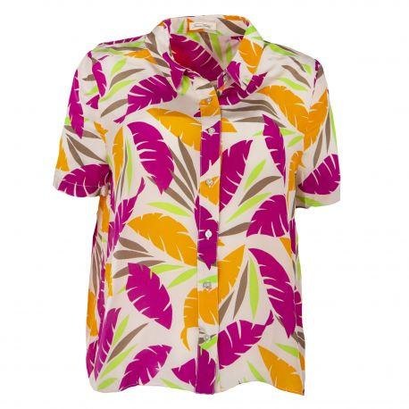 Chemise à manches courtes motifs feuilles multicolores femme AMERICAN VINTAGE marque pas cher prix dégriffés destockage