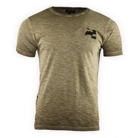 Tee shirt manches courtes chiné détail camouflage homme AMERICAN PEOPLE marque pas cher prix dégriffés destockage