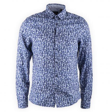Chemise bleue imprimée homme CALVIN KLEIN marque pas cher prix dégriffés destockage