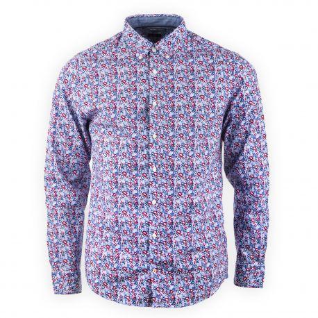 Chemise bleu et rouge imprimé fleuri homme TOMMY HILFIGER marque pas cher  prix dégriffés destockage 33552cccfe7c