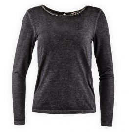 Tee shirt anthracite perles manches longues Femme DDP