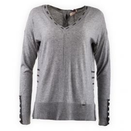 Pull fin gris manches longues Femme DDP