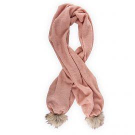 Écharpe rose pompons femme 150 cm x 40 cm TOMMY HILFIGER marque pas cher prix dégriffés destockage
