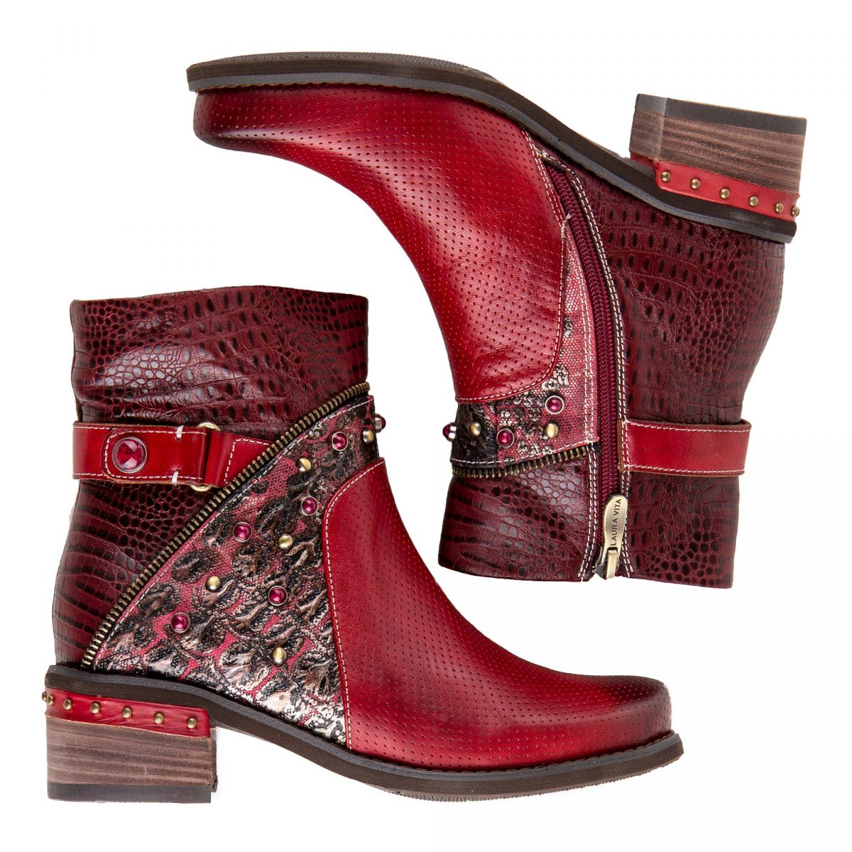 Bottines en cuir rouge femme ETHEL 05 LAURA VITA marque pas cher prix  dégriffés destockage ... 7048e77c4be2