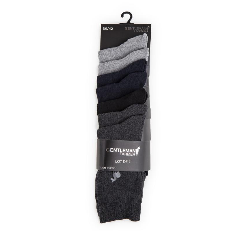 Lot de 7 paires de chaussettes coton stretch Homme GENTLEMAN FARMER marque pas cher prix dégriffés destockage