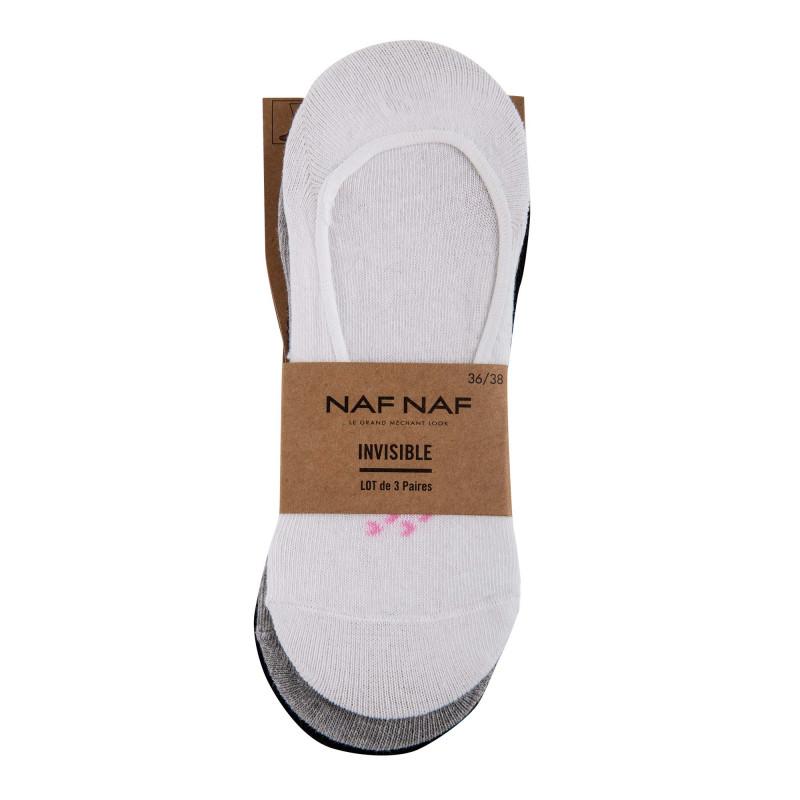 Lot de 3 paires de chaussettes invisibles Damaris Femme NAF-NAF marque pas cher prix dégriffés destockage