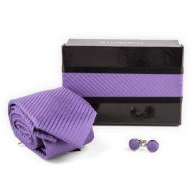 Coffret Cravate en soie violette & Boutons de manchette Homme TORRENTE