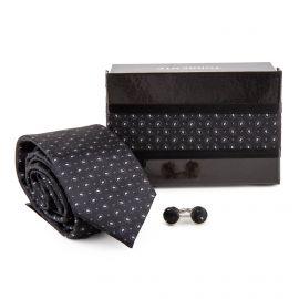 Coffret Cravate imprimée en soie & Boutons de manchette Homme TORRENTE