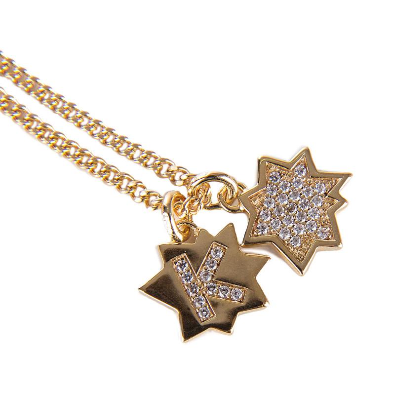 Collier chaîne pendentifs étoiles ras de cou plaqué or Femme KENZO marque pas cher prix dégriffés destockage