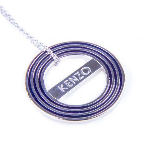 Collier chaîne pendentif rond argent rhodié Femme KENZO marque pas cher prix dégriffés destockage