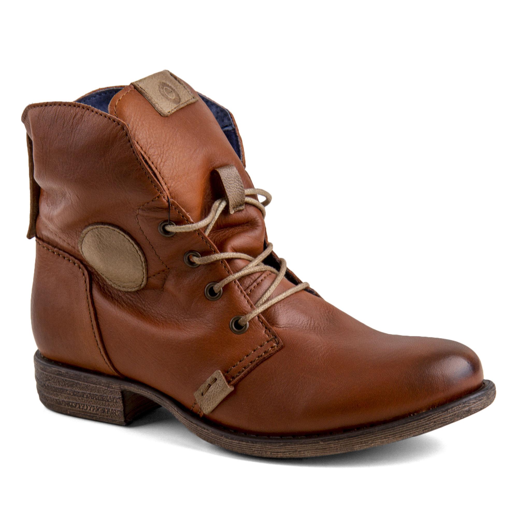 2cf7ebe9742 ... Bottines à lacets en cuir de la marque Orlando. Disponibles en 2  coloris   marron et bleu. Boots Femme 24679 99.99 Degriffstock in stock