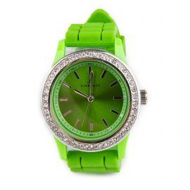 Montre ronde diamant bracelet silicone Femme KIM & JADE