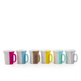 Service 6 tasses à café multicolore porcelaine PRADEL marque pas cher prix dégriffés destockage