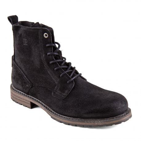 Chaussures Boots montantes noires cuir retourné Homme PIERRE CARDIN marque pas cher prix dégriffés destockage