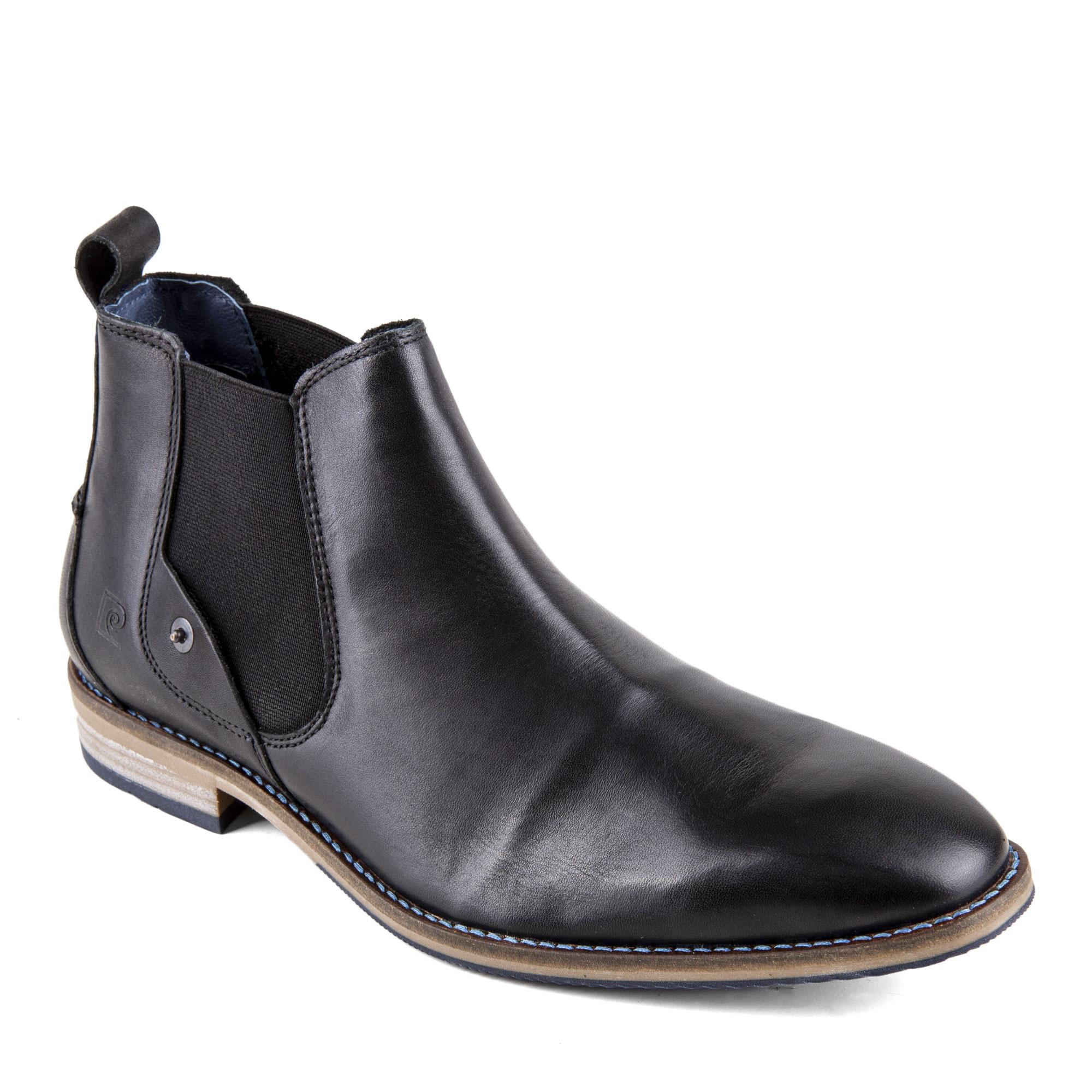 ac5042af0 Chaussures Bottines noires cuir Homme PIERRE CARDIN