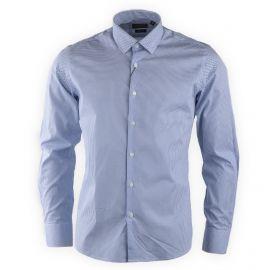 Chemise bleu clair à pois slim fit manches longues Homme TORRENTE