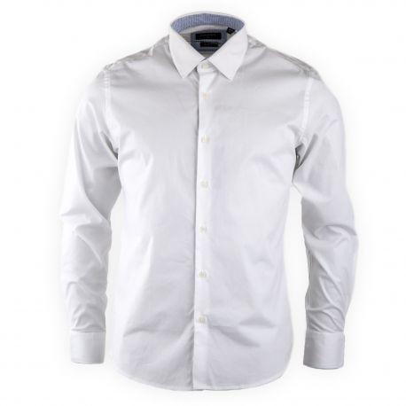Chemise blanche slim fit manches longues Homme TORRENTE marque pas cher prix dégriffés destockage