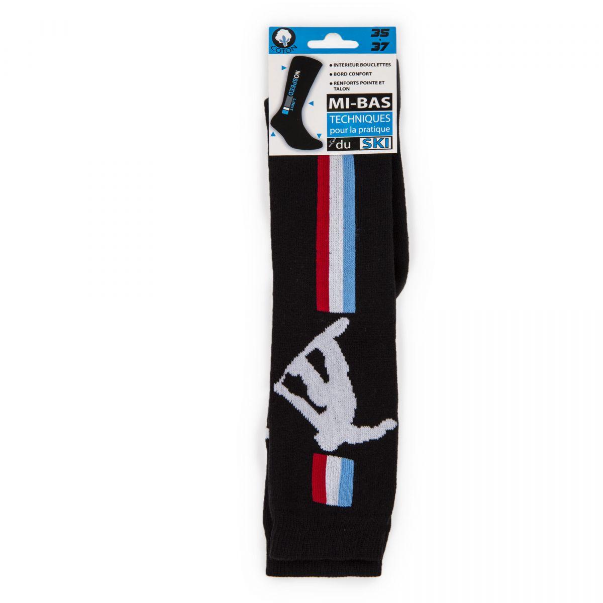 5502693f472b3 Chaussettes ski coton renforts & confort tricolore Enfant AZERTEX à