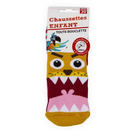 Chaussettes Bouclette coton imprimé lion Enfant AZERTEX marque pas cher prix dégriffés destockage