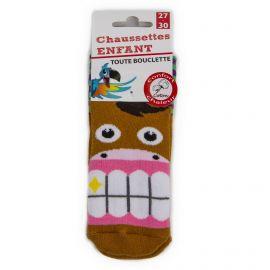 Chaussettes Bouclette coton imprimé cheval Enfant AZERTEX marque pas cher prix dégriffés destockage