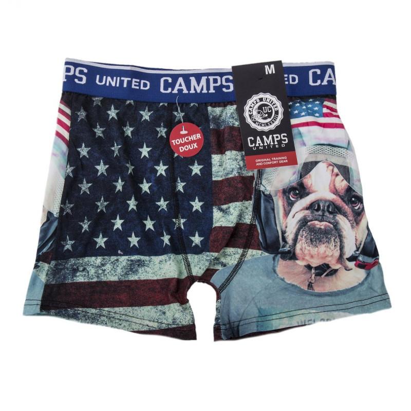 Boxer imprimé bull dog drapeau américain Garçon CAMPS UNITED marque pas cher prix dégriffés destockage