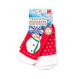 Chaussettes Bouclette bonhomme neige semelle antidérapante Enfant AZERTEX marque pas cher prix dégriffés destockage