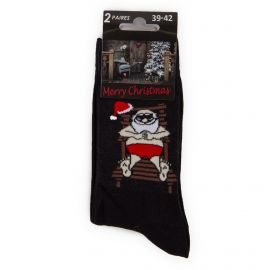 Lot de 2 paires de chaussettes noires Père Noël Homme AZERTEX