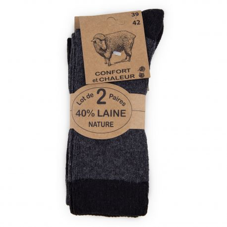 Lot de 2 paires de chaussettes 40% laine homme AZERTEX marque pas cher prix dégriffés destockage