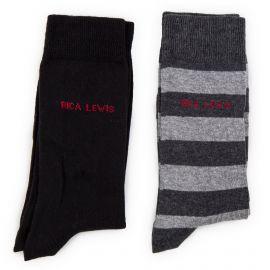 Lot de 2 paires de chaussettes gris et noir homme RICA LEWIS