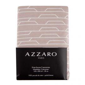 Drap housse taupe 160x200cm 100% percale de coton AZZARO