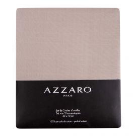 Set de 2 taies d'oreiller unies 100% percale de coton 50X70cm AZZARO