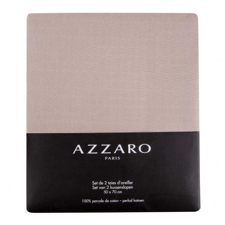 Set de 2 taies d'oreiller unies 100% percale de coton 50X70cm AZZARO marque pas cher prix dégriffés destockage